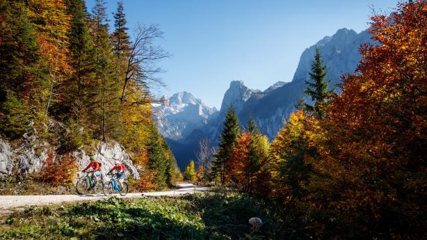 Mit MTB und E-MTB im herbstlichen Salzkammergut  Bunte Wälder, urige Hütten, stille Seen. Wir zelebrieren den Saisonausklang in der MTB Marathon-Hochburg Bad Goisern.